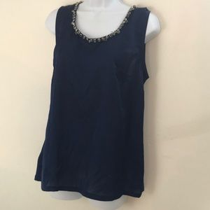Bejeweled neck navy Ann Taylor tank top